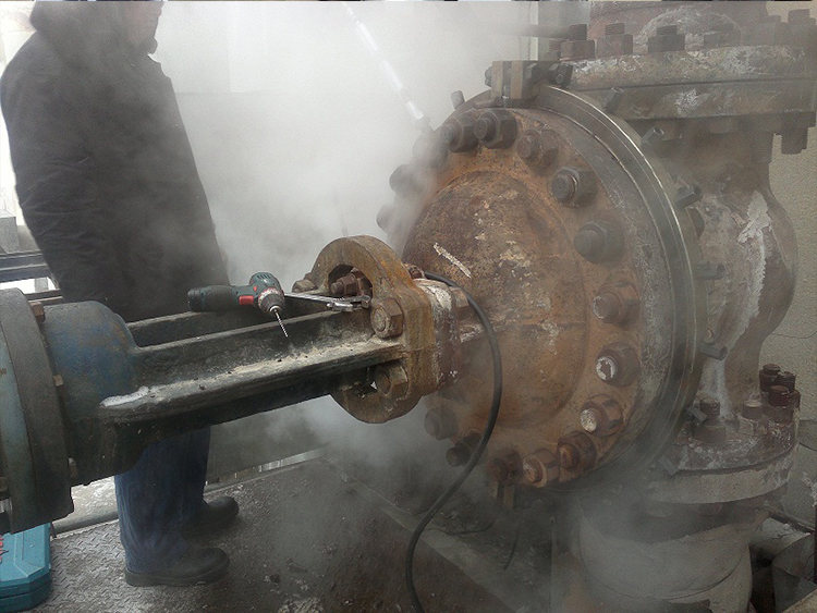 The valve cover of Tonghua Power Plant: DN600PN6.4, temperature 510 C, valve cover flange and bolt leakage, using fixture + bolt hole injection method to implement successful plugging.